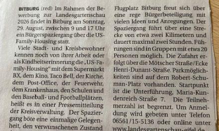 Die Engagierte Stadt Bitburg informiert zu Bürgerspaziergänge über die US-Familiy-Housing am Sonntag, 29. August.